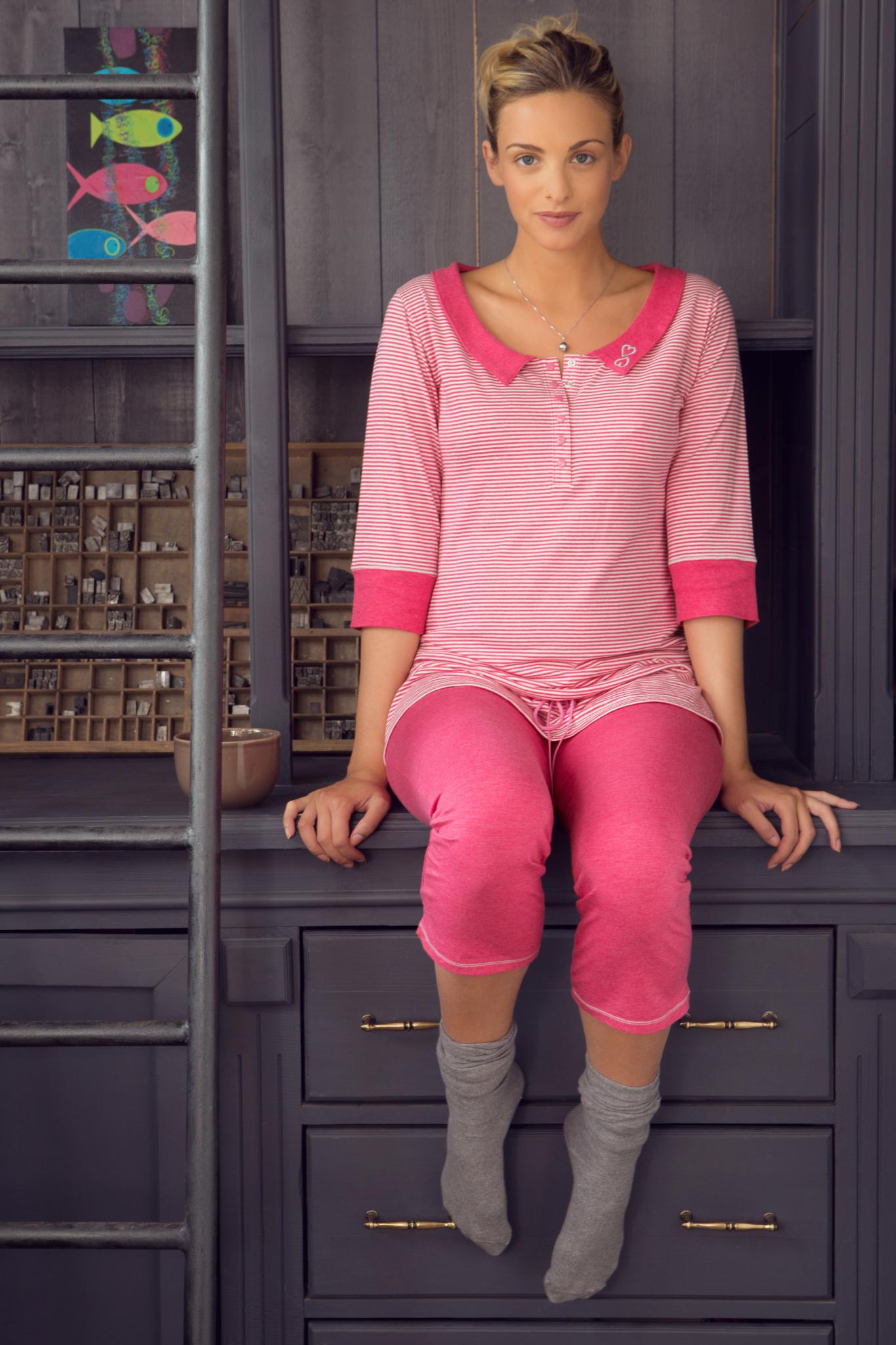 Pyjamabroek Joy roze Cache Coeur