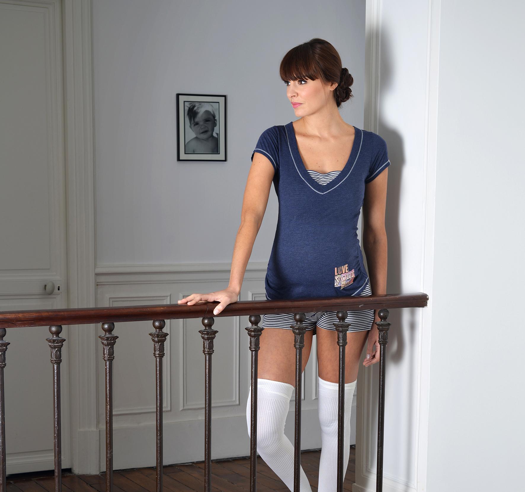 Shirt korte mouw Joy blauw Cache Coeur