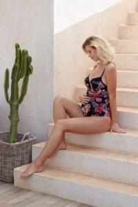 Gebloemd zwangerschapsbadpak Vahine Cache Coeur